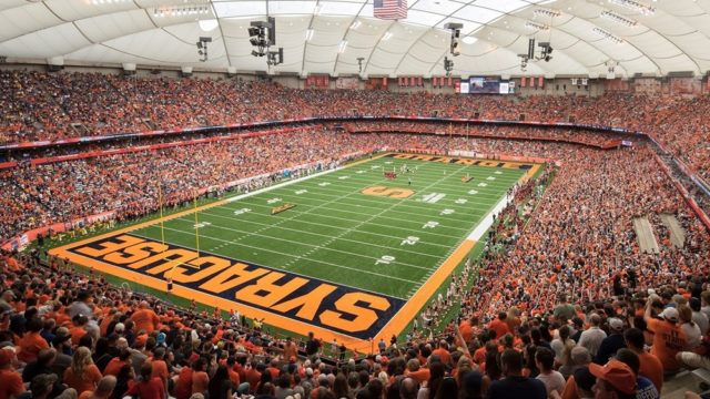 """Chaplain Duric on Big-Screen of SU Football game for """"Faith and Family Weekend"""""""