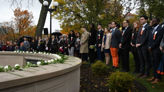Rose-laying ceremony honors Pan Am 103 students